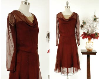 Vintage 1930s Dress - Alluring Deep Burgundy Plum Eyelet Silk Chiffon Art Deco Dress with Draped Neckline