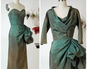 Vintage 1950s Dress - Striking 50s Green Sharkskin Cocktail Dress with Dramatic Draped Hip and Matching Wrap Style Jacket Ombré Fade