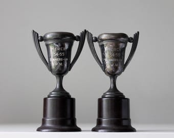 Pair of Vintage Loving Cups, Merck Canada, Patina, Vintage Trophies, Instant Collection, 2nd Place Trophies, Merck Trophies