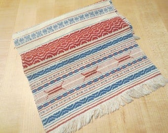 "Vintage Ethnic Woven Table Runner / 31"" X 10"" plus 1"" fringe on both ends / Ethnic Woven Tapestry"