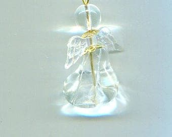 glass angel necklace pendant angel bead charm handmade clear #jewls2057