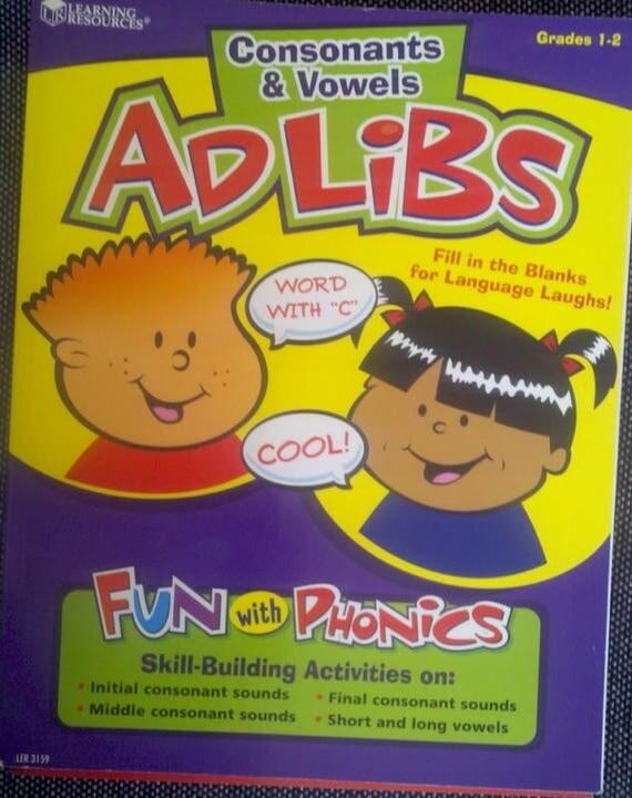 grade 1-2 Adlibs Consonants vowels worksheet home school book phonics english educational