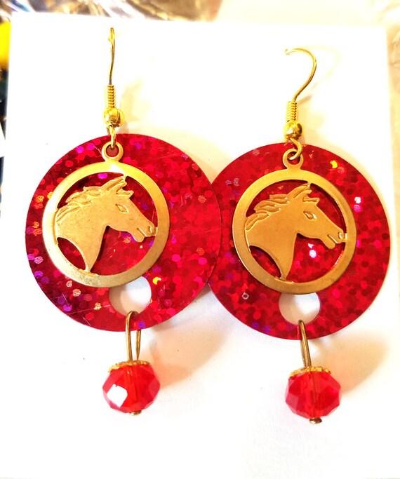 horse earrings horse charms earrings red earrings sequins glass bead drop dangles long earrings animal charms jewelry handmade