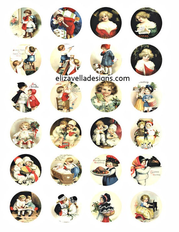 Vintage victorian children boys girls clip art digital download collage sheet 1.5 inch circles image graphics printable scrapbooking crafts