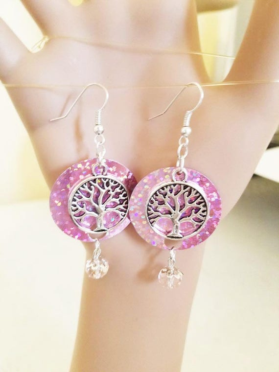 Silver life tree earrings sequin pink earrings  bead drop dangles sparkly Silver tree charms handmade