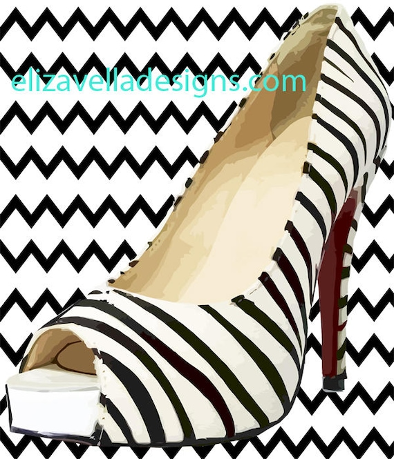 womens zebra stripes high heel shoe fashion wall art printable graphics image digital download art black and white home living room decor