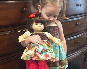 "Apron doll dress m2m Matilda Jane, 10"" to 16"" waldorf doll dress, 18"" doll dress, 15"" bitty babies top, 15"" twin doll clothes, gift for girl"