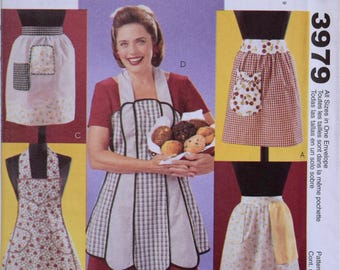 American Hostess Vintage Aprons McCalls 3979 Sewing Pattern Fashion Accessories Retro Style UNCUT Factory Folds Sizes S, M, L, XL