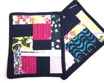 Abstract Quilted Patchwork Pot Holders Set of Two in Pink and Indigo Blue Modern Fabrics