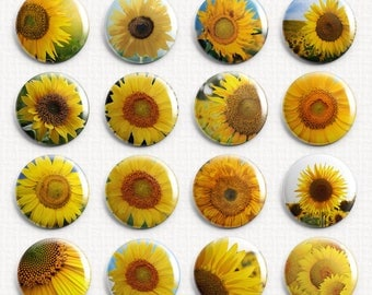 CLOSEOUT Sunflowers Interchangeable Magnetic Pendant Toppers or Refrigerator Magnets Set of 16  w/Gift Tin