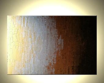 Original Metallic Art / Gold Silver Bronze / Abstract Painting / Modern Palette Knife Painting / Art By Lafferty / 36x24 / Fine Art For Sale