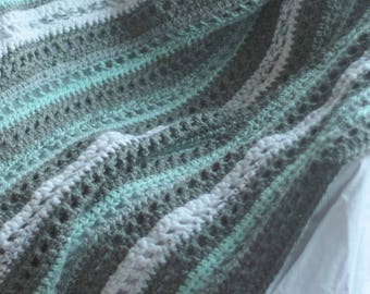 Afghan MInt and Grey Striped crochet blanket, wool blend