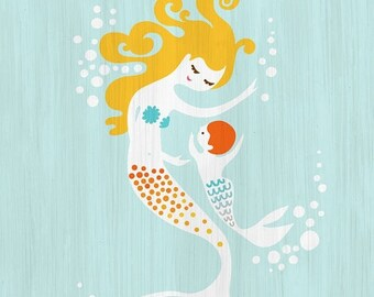 "SUMMER SALE 8X10"" mermaid mother & baby boy giclee print on fine art paper. sky blue, yellow,  orange. blonde redhead. textured background."