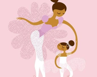 """SUMMER SALE 8X10"""" Ballerina mother and daughter giclee print on fine art paper. Pink, lilac, caramel skin tone."""
