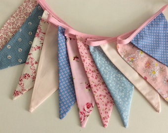Pink and blue Pastel bunting, pastel fabric garland, 11 flags, bedroom or party decoration 8ft long inc ties