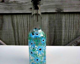 Dish Soap Dispenser,  Recycled Clear Glass Bottle, Painted Glass, Oil and Vinegar Bottle, Light Blue Flowers, Bottle  Dispenser, Glass Art