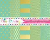 80% OFF SALE Digital Paper Pack Gold Foil & Aqua Commercial Use Digital Scrapbook Papers Polka Dots Stripes Herringbone and Chevron