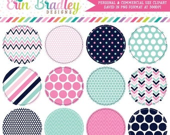 50% OFF SALE Pink and Blue Circle Frames Clipart Clip Art Personal & Commercial Use
