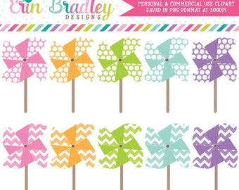 50% OFF SALE Pinwheels Clipart Graphics, Commercial Use Summer Clip Art