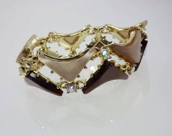 Chocolate Moonglow Bracelet, Lucite Bracelet, Thermoplastic Jewelry, Brown Tan Rhinestone, 1950's Vintage Jewelry