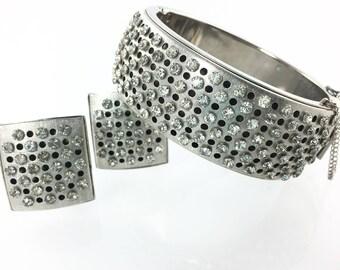 Bold Silver Rhinestone Bangle Bracelet, Rhinestone Set, Hinged Bangle, Clip Earrings, Statement Jewelry, 1950's Costume Jewelry