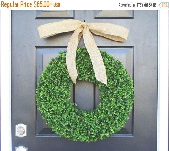 SUMMER WREATH SALE Artificial Boxwood Wreath- Spring Wreath- Door Wreath- Year Round Wreath- Spring Decor- Burlap Bow- Fall Wreath