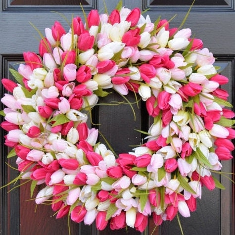 Tulips Spring Wreath- Spring Decor-Spring Tulips Wreath, Custom Colors and Sizes, Door Wreath, Purple Wreath- The ORIGINAL Tulip Wreath