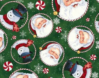 Christmas Fabric, Retro Santa Forest Tossed Santas and Snowmen Cotton  by Clothworks