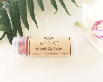 Tinted Lip Balm • Merlot Lip Tint • Organic and Natural Tinted Lip Balm  • Earth Mineral Cosmetics