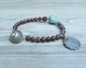 Gypsy Mala Bracelet -Gemstone Mala, Prayer Bead Bracelet, Willow Creek Jasper, Handmade