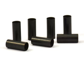 Black Tube Beads - 25 Oxidized Brass Tubes (6x15mm) Bs 1532