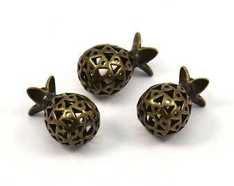 Brass Pomegranate Pendant - 2 Antique Bronze Brass  Pomegranate Pendants (10x17 mm) k145