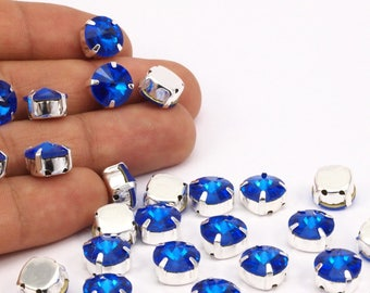 Ss47 Sapphire, 20 Ss47 Sapphire Rivoli Sew On Rhinestone Silver Plated Brass Prong Setting 4 Hole Slider 10.5mm Y256