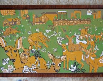 Invasive Deer, Multiflora Rose, Cornell University, woodcut, block print, framed in curly maple