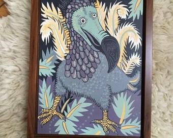 Dodo-Woodcut-Framed in soild walnut