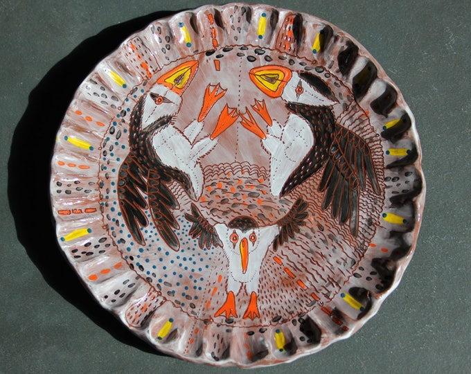 Puffin plate, ceramic handbuilt sgraffito carved, handpainted pottery