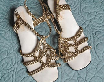 1960's Vintage Gold Braid Sandals with Low Heel Made in Italy for Musetti