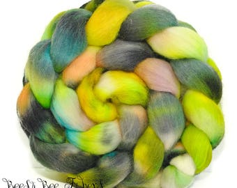 ABSTACT #5 - Corriedale Wool Roving Hand Dyed Combed Top Spinning Felting Fiber- 4.1 ounces