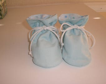 Blue corduroy TV baby booties/soft sole shoes SIZE MEDIUM