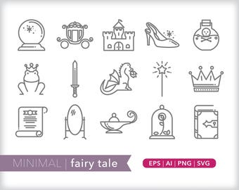 Minimal fairy tale line icons | EPS AI PNG | Geometric Magic Clipart Design Elements Digital Download
