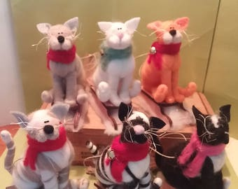 "Whimsical Felted Wool 4"" Cat on Sled - NEW for 2017"
