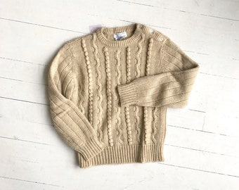 Buttercream sweater | vintage 1980s cable knit sweater | cream cable knit sweater
