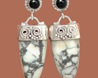 Howlite and Black Onyx Silver Tribal Dangle Earrings