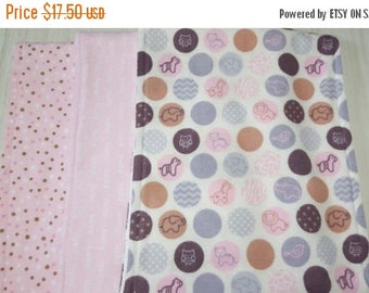ON SALE Burp Cloth Dots Baby Tossed Dots Pink Grey Flannel Terry Cloth Set of 3 XL