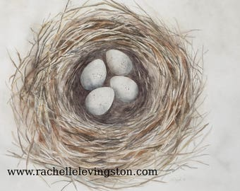 Bird Nest Painting for her watercolor painting Nest PRINT bird Painting of nest wall art room decor egg gift for mom neutral modern gray NEW