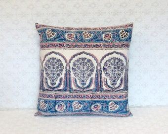 Boho Pink Blue Handprinted Floral Border Fabric Pillow Cover 16x16