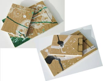 Artist's Sketchbook Gift Sets, choice of Green or Black, Stab Bound with Up Cycled Materials and Hand Painted Covers