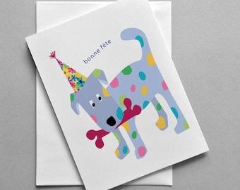French birthday card, Bonne fête, Doggie, For her, For him, Fashion, Funny card, Cute card