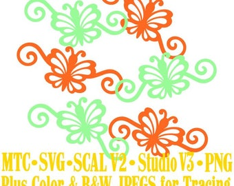 Butterfly 1 Flourish Set #03 Spring Cut Files MTC SVG SCAL and more Digital File Formats