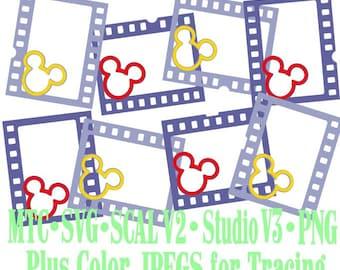Filmstrip Frames Boy & Girl Mouse Head Design #05 Amusement Park Embellishments Cut Files MTC SVG SCAL and more File Format